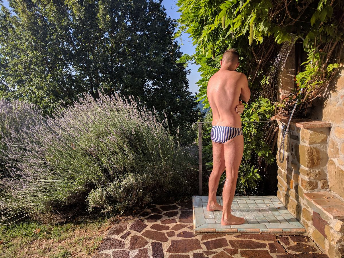 Showering on the Azzurro Terrace at Bellaugello Gay Guet House
