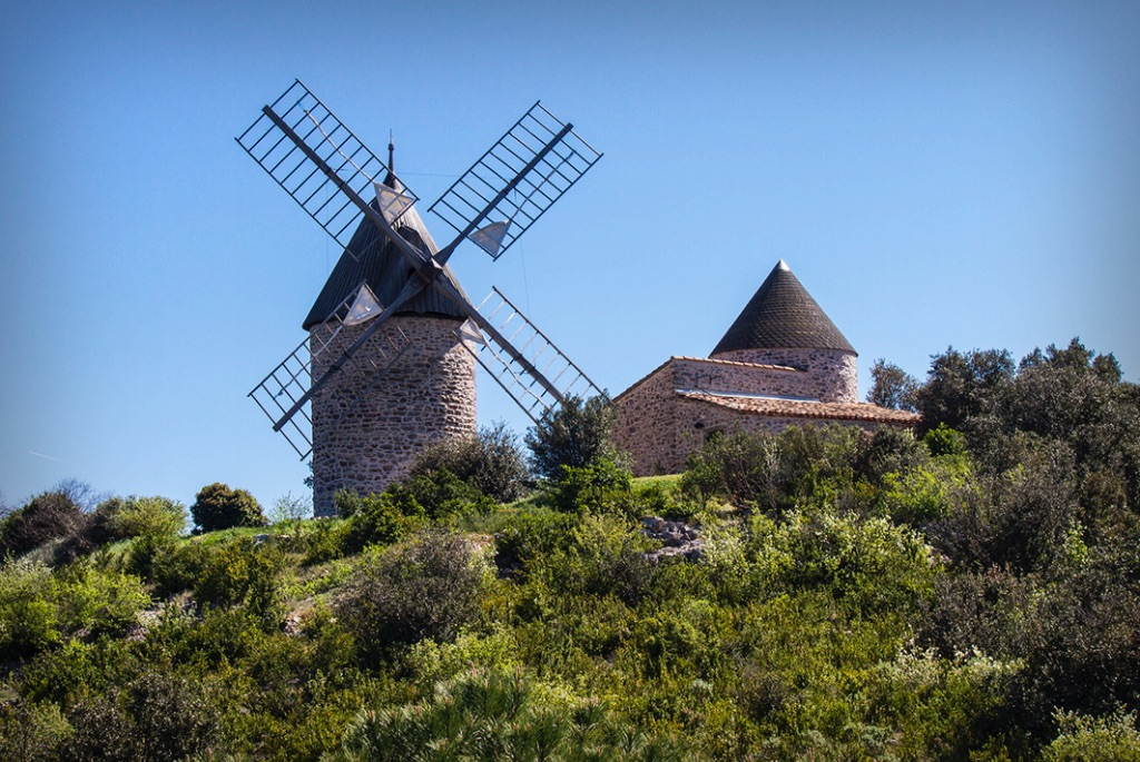 The windmills above the village